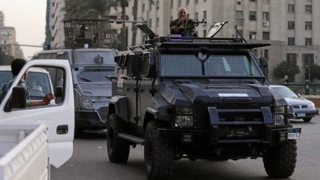 Members of security forces secure Tahrir Square in Cairo, 11 November