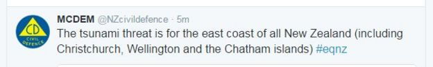 A tweet with a tsunami warning from New Zealand's Civil Defence