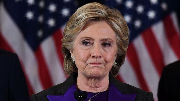 Hillary Clinton conceding defeat, 9 November