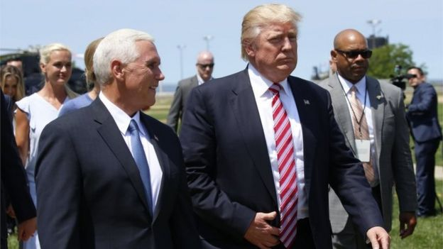 Donald Trump y su nominado a vice presidente, Mike Pence, en Cleveland, Ohio, el 20 de julio de 2016.