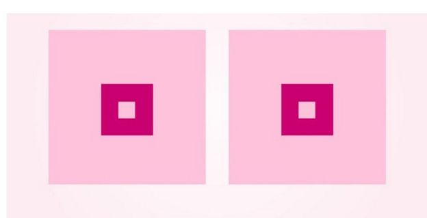 Screen grab from open letter from Cancerfonden to Facebook with two pink squares representing women breasts