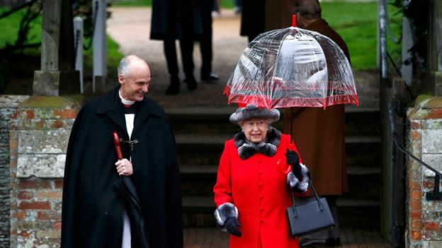 The Queen leaving the service at Sandringham in 2015