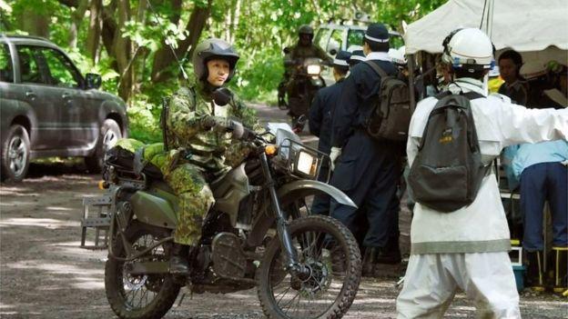 A Japanese SDF member on a motorbike in Hokkaido (1 June 2016)