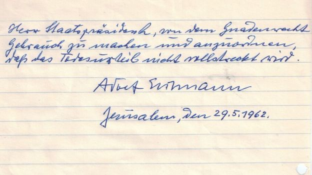 Adolf Eichmann's hand-written, signed plea for clemency