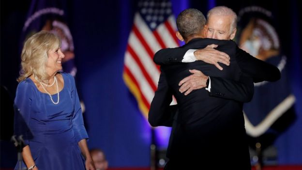 U.S. President Barack Obama hugs Vice-President Joe Biden as Biden