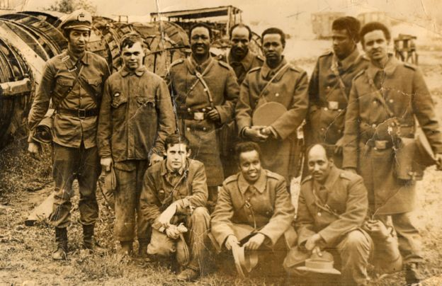 Picture of Farhiya's dad (standing far right) while he was completing military training in Leningrad (now St Petersburg) in the 1970s