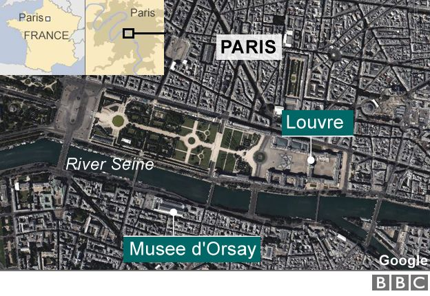 A map showing museums in Paris