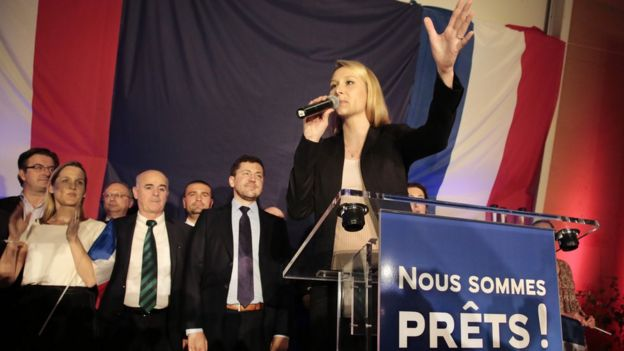 Marion Marechal-Le Pen greets supporters (6 Dec)