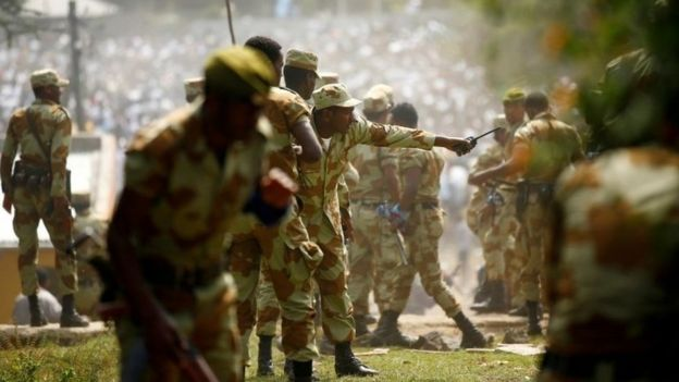 Ethiopian security personnel at demonstration