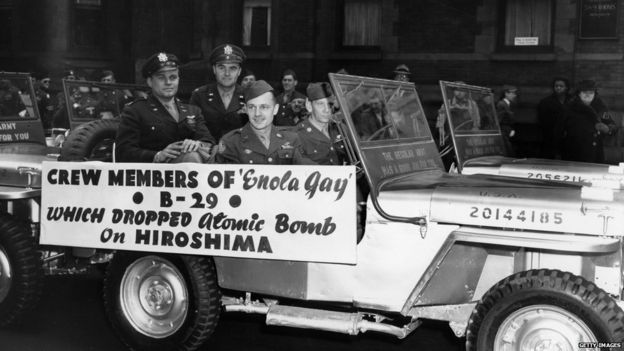 Crew of the Enola Gay in a military parade in New York, April 1946