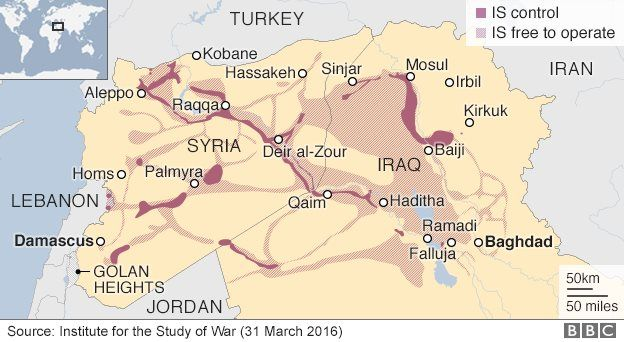 Map of Syria and Iraq showing Islamic State control