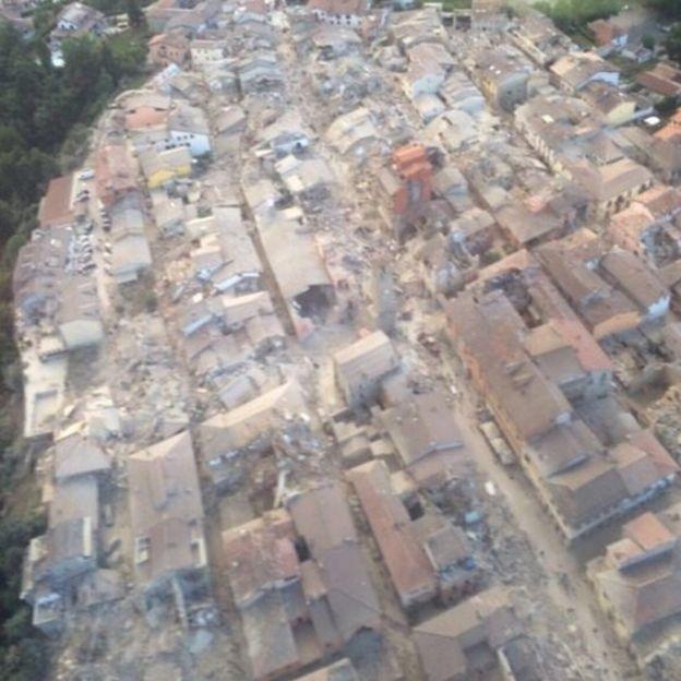 Pueblo de Amatrice destruido tras el terremoto.