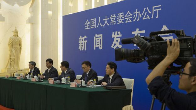 Chinese officials answer questions about law regulating overseas NGOs during press conference at Great Hall of the People in Beijing, China, 28 April 2016.
