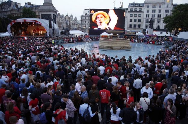 A gig in London's Trafalgar Square for Canada Day