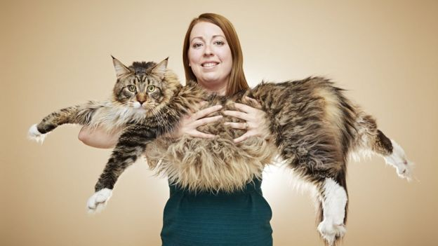 Woman with very long cat