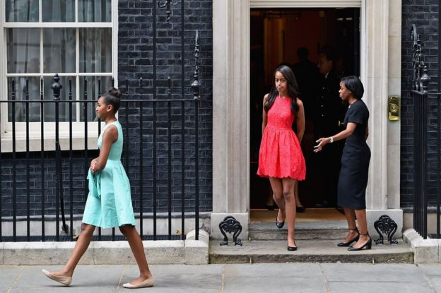 The girls visited 10 Downing Street in 2015 with Michelle to promote her Let Girls Learn campaign