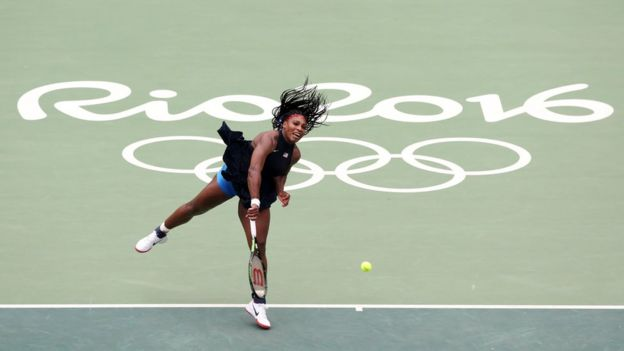 Serena Williams in action against Daria Gavrilova during the women