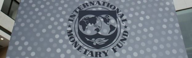 International Monetary Fund logo is seen inside the headquarters at the end of the IMF/World Bank annual meetings in Washington on 9 October