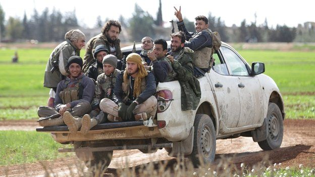 Rebels outside Aleppo