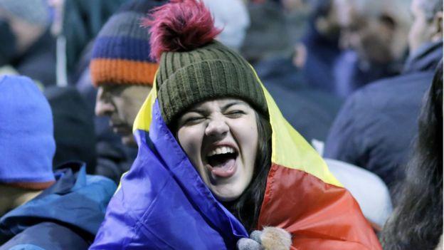 Manifestante en Bucarest