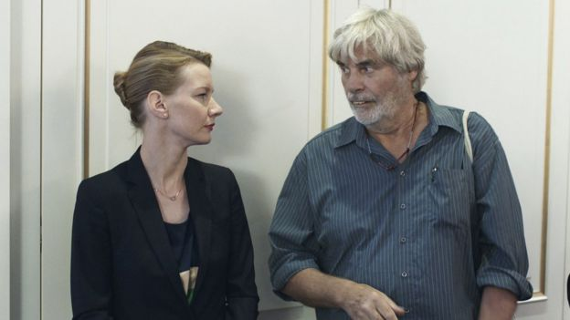 Sandra Huller and Peter Simonischek in a scene from Toni Erdmann