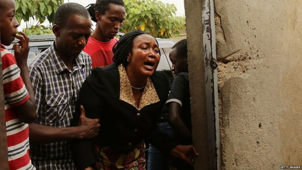 Woman mourns death of man killed in a police operation in Bujumbura