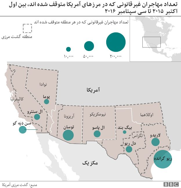 نقشه مرز آمریکا با مکزیک