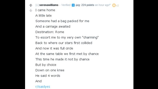 Serena Williams writes: I came home/ A little late/ Someone had a bag packed for me/ And a carriage awaited/ Destination: Rome/ To escort me to my very own
