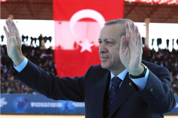 Turkish President Recep Tayyip Erdogan pictured on 18 March 2017 in Canakkale, western Turkey.