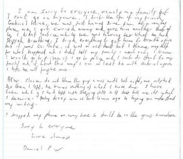 A copy of the alleged suicide note BBC