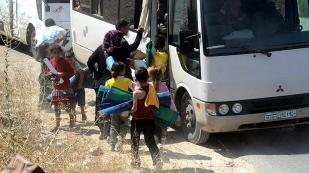 Syrian families evacuated from Aleppo by the Syrian army in Aleppo