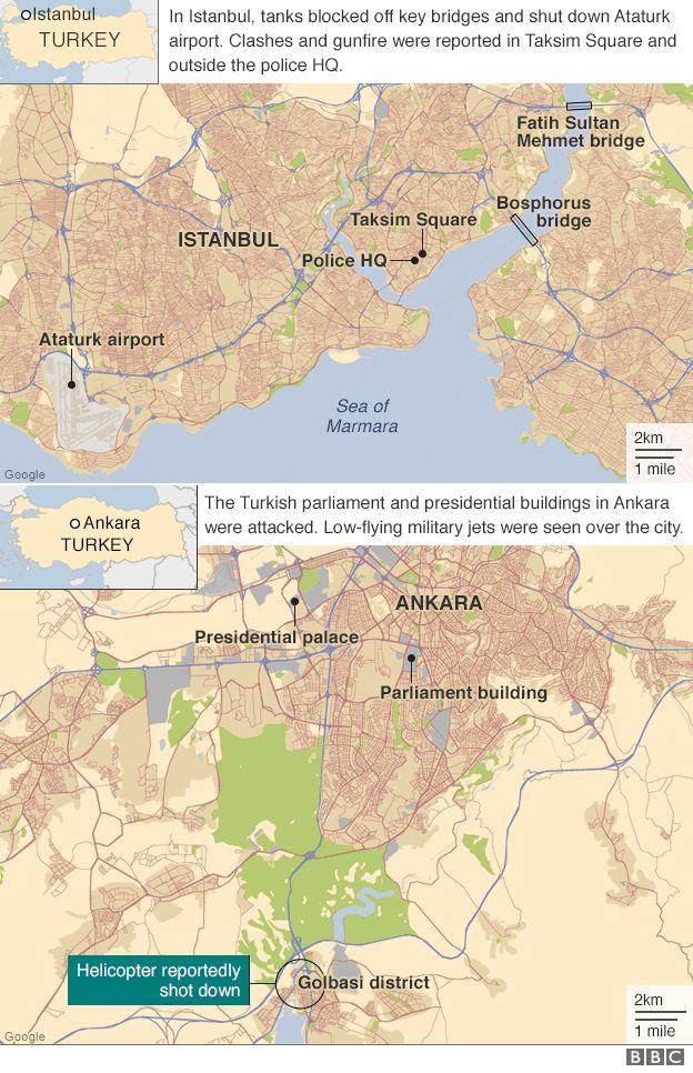Map of Ankara and Istanbul