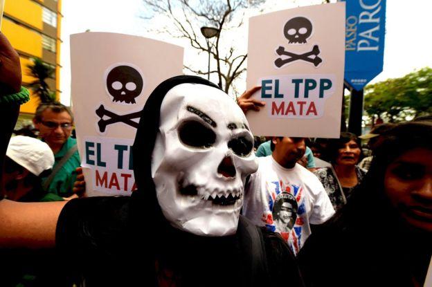 Protesta por el TPP en Perú.