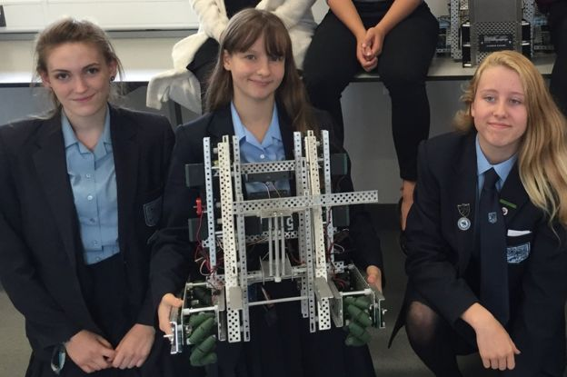 john warner Year 11 girls with robot