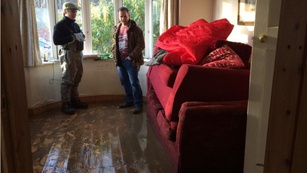 Flooded house in York