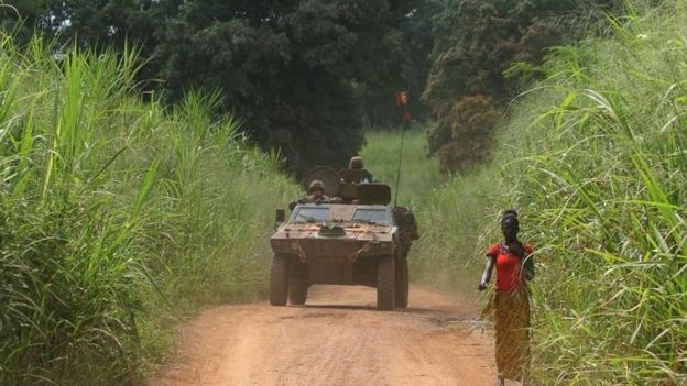 A French army vehicle near Bangui