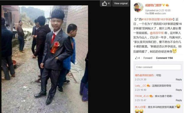 Screencap of Chengduremensoluo's Weibo post on teenage couple in China on 24 February 2016