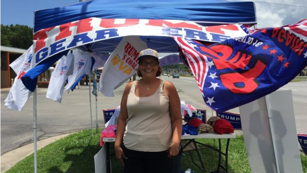 Janice Merkel says she gets plenty of love at her roadside Trump gear stand