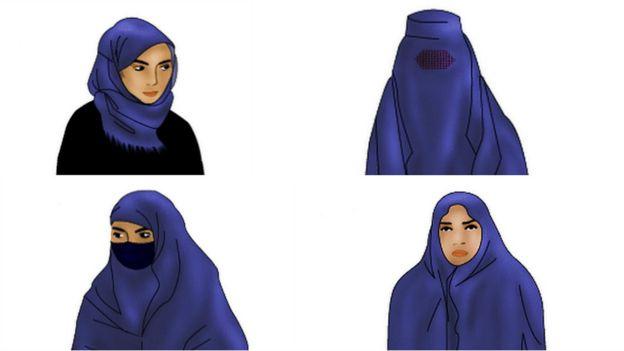 Ilustrações de véus muçulmanos