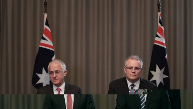 Prime Minister Malcolm Turnbull and Treasurer Scott Morrison at a news conference