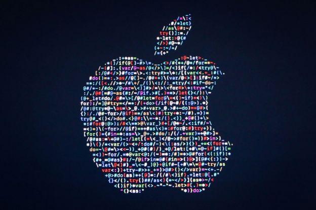 El logotipo de Apple con símbolos