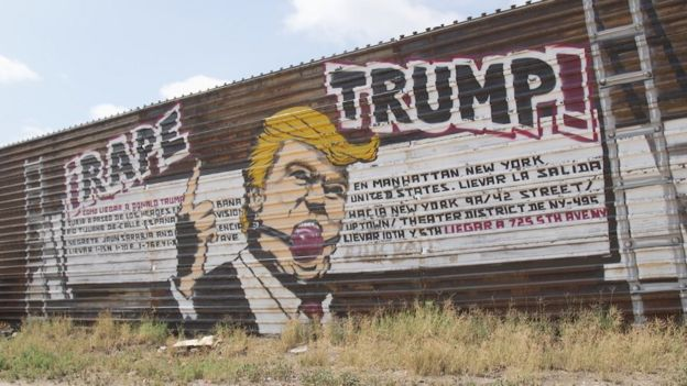 An anti-Trump mural on the Mexican side of the border