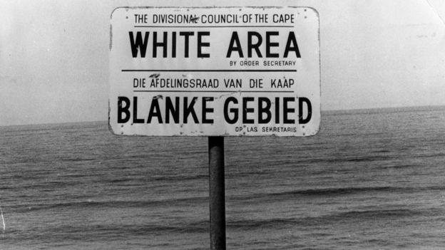An apartheid notice on a beach near Capetown, denoting the area for whites only