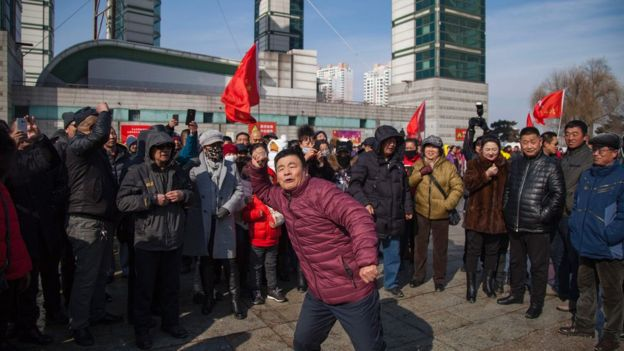 Chanting protesters call for a boycott of South Korean goods in Jilin, Jilin province on March 5, 2017.