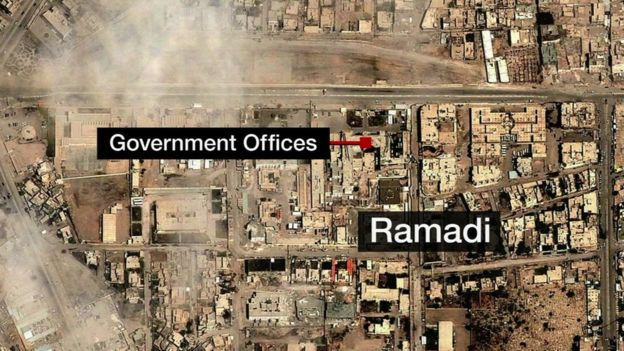 Aerial map of Ramadi. Iraq - 27 December 2015