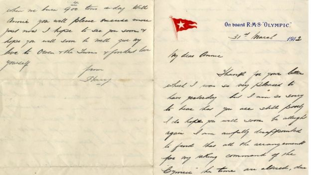 Letter written by Henry Wilde, Chief Officer on the Titanic