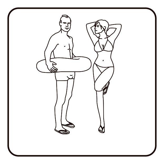 Mujer y hombre en trajes de baño