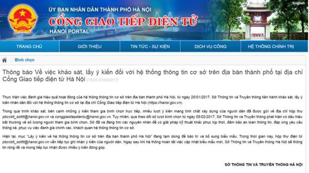 Thông cáo trên trang chính thức của Ủy ban Nhân dân thành phố Hà Nội
