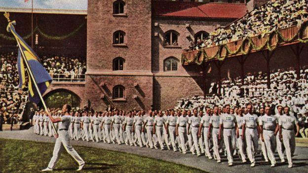 Imagen de una ceremonia en als Olimpiadas de 1912.