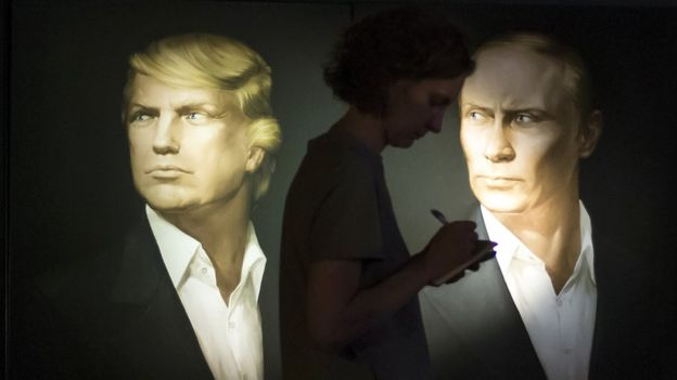 Portraits of Donald Trump and Vladimir Putin on display in a Moscow pub